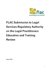 FLAC Submission to Legal Services Regulatory Authority on the Legal Practitioners Education and Training Review