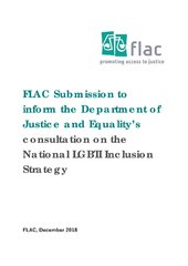 FLAC Submission to inform the Department of Justice and Equality's consultation on the National LGBTI Inclusion Strategy