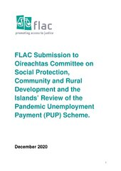 FLAC Submission to Oireachtas Committee on Social Protection, Community and Rural Development and the Islands' Review of the Pandemic Unemployment Payment