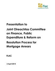 Presentation: Resolution Process for Mortgage Arrears